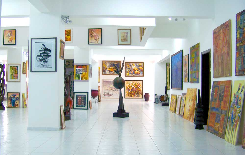 Interior space of Nike Art Gallery, full of African art
