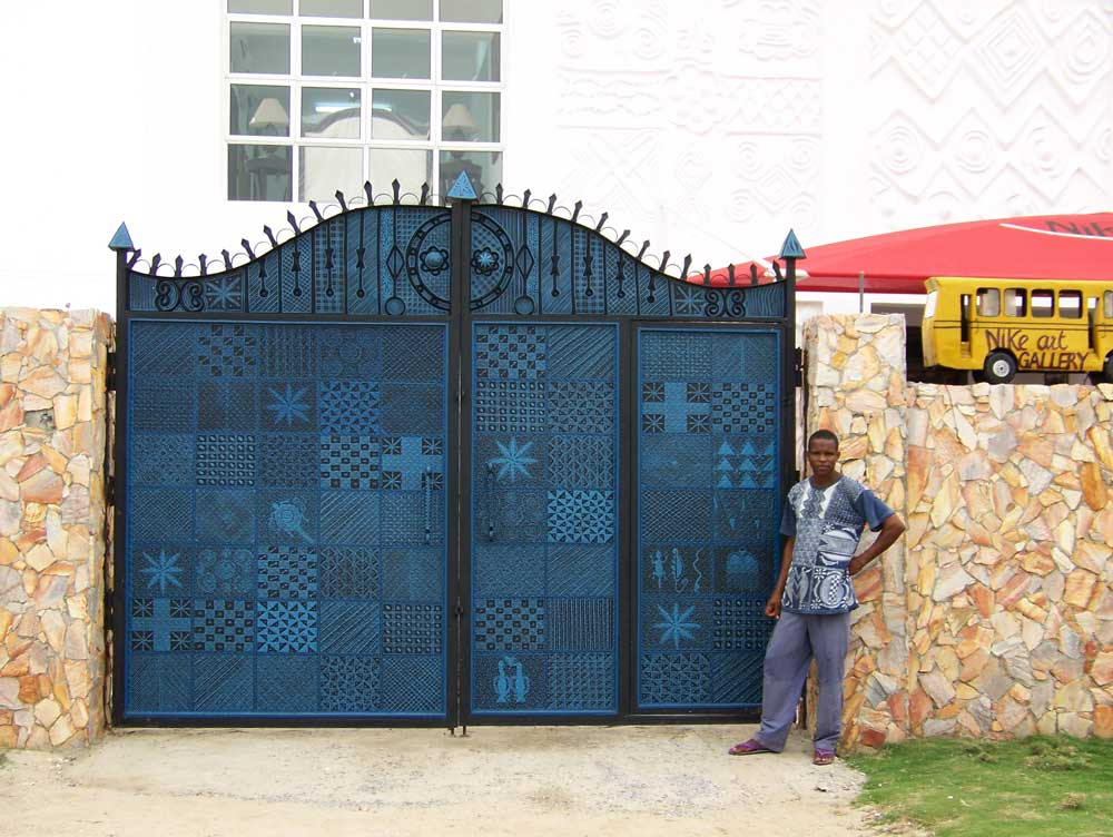 Front gate of Nike Art Gallery, inspired by traditional indigo designs