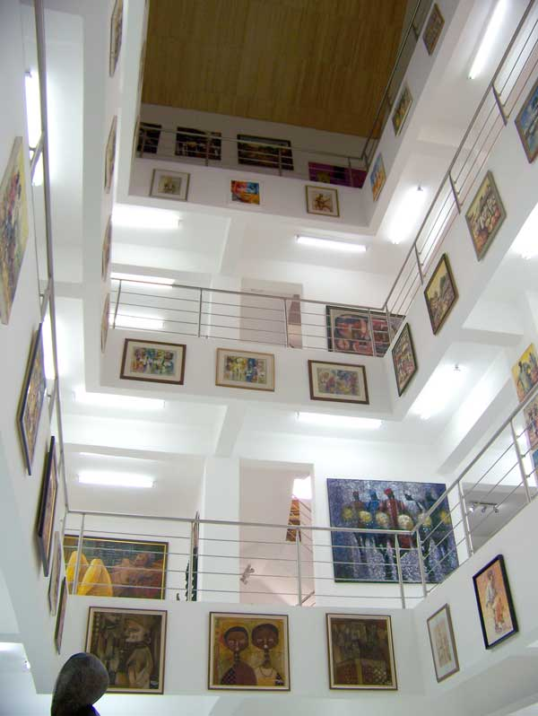 Levels upon levels of paintings by African artists at Nike Art Gallery, Lagos, Nigeria
