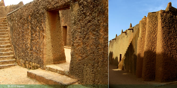 Thick adobe walls: Emir's Palace of Katsina (replica at Museum of Traditional Nigerian Architecture)