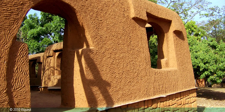Red earth walls of the Emir's Palace of Katsina (replica at Museum of Traditional Nigerian Architecture)