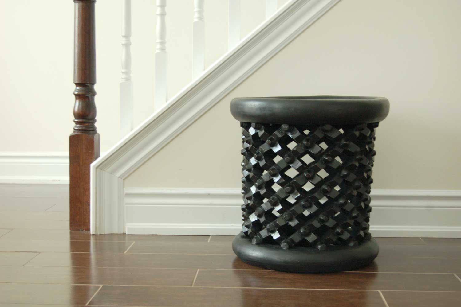 Modern Decor with Hand-carved Bamileke Stool