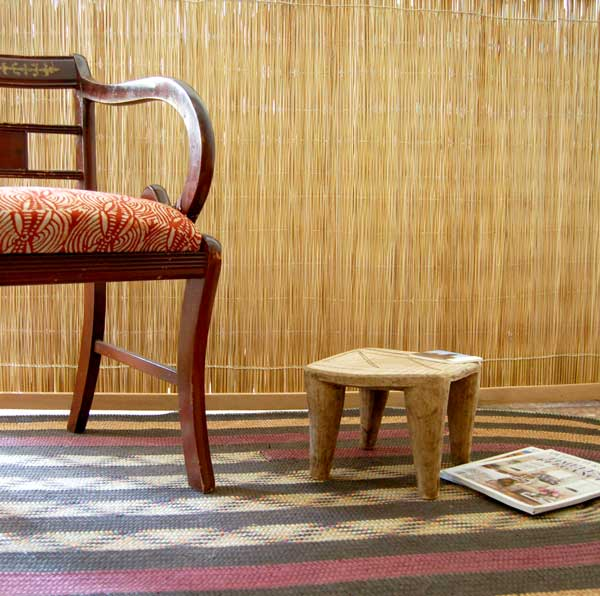 Modern global style with Nupe stool and regency chair with batik fabric