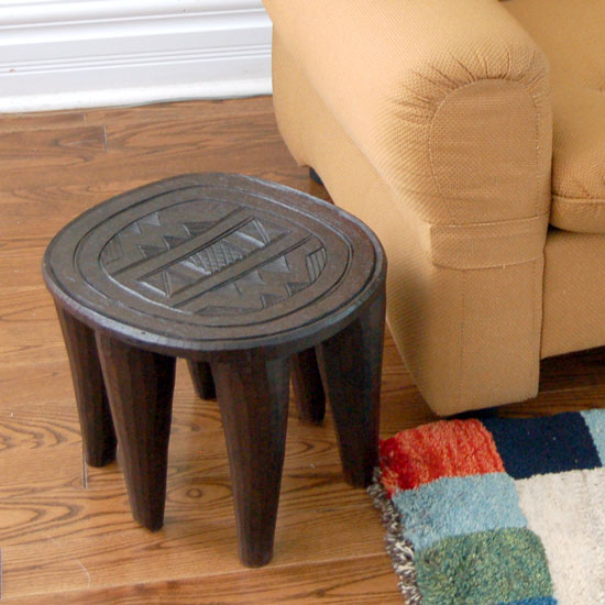 Six-legged Nupe stool as a side-table