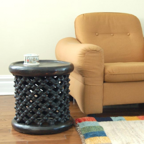 Solid wood Bamileke stool